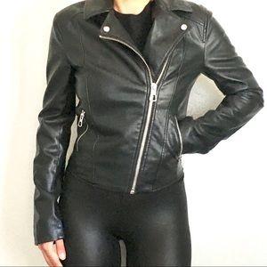 H&M black faux leather Moro jacket 2 xs
